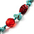 Multistrand Turquoise Stone Necklace And Drop Earrings Set (Silver Tone) - view 8