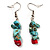 Multistrand Turquoise Stone Necklace And Drop Earrings Set (Silver Tone) - view 4