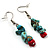 Multistrand Turquoise Stone Necklace And Drop Earrings Set (Silver Tone) - view 9