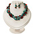Multistrand Turquoise Stone Necklace And Drop Earrings Set (Silver Tone) - view 2