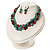 Multistrand Turquoise Stone Necklace And Drop Earrings Set (Silver Tone) - view 10