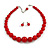 Hot Red Acrylic Bead Choker Necklace And Stud Earring Set (Silver Tone) - 34cm L/ 7cm Ext - view 8