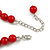 Hot Red Acrylic Bead Choker Necklace And Stud Earring Set (Silver Tone) - 34cm L/ 7cm Ext - view 5