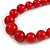 Hot Red Acrylic Bead Choker Necklace And Stud Earring Set (Silver Tone) - 34cm L/ 7cm Ext - view 4