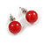 Hot Red Acrylic Bead Choker Necklace And Stud Earring Set (Silver Tone) - 34cm L/ 7cm Ext - view 9