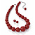 Hot Red Acrylic Bead Choker Necklace And Stud Earring Set (Silver Tone) - 34cm L/ 7cm Ext - view 2
