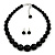 Jet Black Acrylic Bead Choker Necklace And Stud Earring Set In Silver Tone - 34cm L/ 7cm Ext