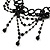 Victorian/ Gothic/ Burlesque Black Bead Choker And Earrings Set - view 9