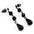 Victorian/ Gothic/ Burlesque Black Bead Choker And Earrings Set - view 4
