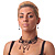 Victorian/ Gothic/ Burlesque Black Bead Choker And Earrings Set - view 3