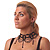 Chic Victorian/ Gothic/ Burlesque Black Bead Choker And Earrings Set - view 3