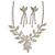 Bridal Diamante Floral Necklace & Earrings Set (Silver Tone)