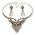 Swarovski Crystal Modern Appeal Bib Necklace and Earrings Set (Silver Tone) - view 9