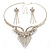 Swarovski Crystal Modern Appeal Bib Necklace and Earrings Set (Silver Tone) - view 3