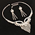 Swarovski Crystal Modern Appeal Bib Necklace and Earrings Set (Silver Tone) - view 10