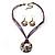 Purple Open-Cut Disk Enamel Organza Cord Necklace & Drop Earrings Set (Bronze Tone) - view 11