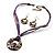 Purple Open-Cut Disk Enamel Organza Cord Necklace & Drop Earrings Set (Bronze Tone) - view 12