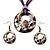 Purple Open-Cut Disk Enamel Organza Cord Necklace & Drop Earrings Set (Bronze Tone) - view 5