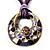 Purple Open-Cut Disk Enamel Organza Cord Necklace & Drop Earrings Set (Bronze Tone) - view 13