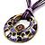 Purple Open-Cut Disk Enamel Organza Cord Necklace & Drop Earrings Set (Bronze Tone) - view 8