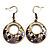 Purple Open-Cut Disk Enamel Organza Cord Necklace & Drop Earrings Set (Bronze Tone) - view 6