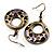 Purple Open-Cut Disk Enamel Organza Cord Necklace & Drop Earrings Set (Bronze Tone) - view 7