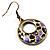 Purple Open-Cut Disk Enamel Organza Cord Necklace & Drop Earrings Set (Bronze Tone) - view 14