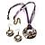 Purple Open-Cut Disk Enamel Organza Cord Necklace & Drop Earrings Set (Bronze Tone) - view 4