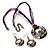 Purple Open-Cut Disk Enamel Organza Cord Necklace & Drop Earrings Set (Bronze Tone) - view 15