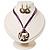 Purple Open-Cut Disk Enamel Organza Cord Necklace & Drop Earrings Set (Bronze Tone) - view 3