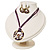 Purple Open-Cut Disk Enamel Organza Cord Necklace & Drop Earrings Set (Bronze Tone) - view 16