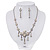 Bridal Swarovski AB/Clear Crystal Floral Necklace & Earrings Set In Rhodium Plated Metal - view 3