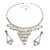 Bridal Swarovski Crystal Bib Necklace And Drop Earring Set In Rhodium Plated Metal - view 11