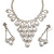 Bridal Swarovski Crystal Bib Necklace And Drop Earring Set In Rhodium Plated Metal - view 4