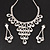 Bridal Swarovski Crystal Bib Necklace And Drop Earring Set In Rhodium Plated Metal - view 9