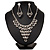 Bridal Swarovski Crystal Bib Necklace And Drop Earring Set In Rhodium Plated Metal - view 2