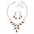 Bridal Red/Clear Diamante Floral Necklace & Earrings Set In Silver Plating - view 4