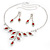 Bridal Red/Clear Diamante Floral Necklace & Earrings Set In Silver Plating - view 14