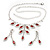 Bridal Red/Clear Diamante Floral Necklace & Earrings Set In Silver Plating - view 15