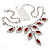 Bridal Red/Clear Diamante Floral Necklace & Earrings Set In Silver Plating - view 13