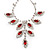 Bridal Red/Clear Diamante Floral Necklace & Earrings Set In Silver Plating - view 17