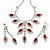 Bridal Red/Clear Diamante Floral Necklace & Earrings Set In Silver Plating - view 11