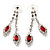 Bridal Red/Clear Diamante Floral Necklace & Earrings Set In Silver Plating - view 12