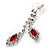 Bridal Red/Clear Diamante Floral Necklace & Earrings Set In Silver Plating - view 6