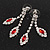 Bridal Red/Clear Diamante Floral Necklace & Earrings Set In Silver Plating - view 10