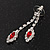 Bridal Red/Clear Diamante Floral Necklace & Earrings Set In Silver Plating - view 7