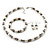 White Imitation Pearl Bead With Diamante Ring Necklace, Bracelet & Earrings Set (Silver Tone Metal) - view 20