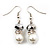 White Imitation Pearl Bead With Diamante Ring Necklace, Bracelet & Earrings Set (Silver Tone Metal) - view 7