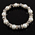 White Imitation Pearl Bead With Diamante Ring Necklace, Bracelet & Earrings Set (Silver Tone Metal) - view 5