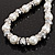 White Imitation Pearl Bead With Diamante Ring Necklace, Bracelet & Earrings Set (Silver Tone Metal) - view 4